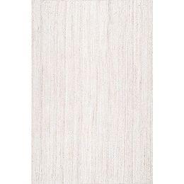Hand Woven Rigo Jute Rug Off-White 9 ft. x 12 ft. Indoor Oval Rug