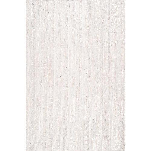 Hand Woven Rigo Jute Rug Off-White 8 ft. x 10 ft. Indoor Area Rug