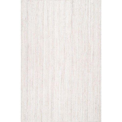 Tapis d'intérieur tissé à la main de jute, 4 pi x 6 pi, Rigo, ivoire