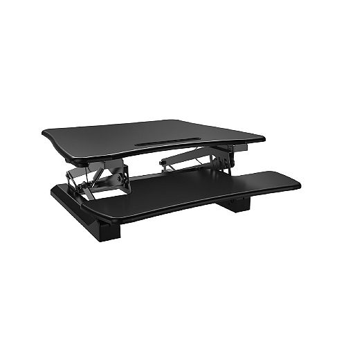 Posidesk 29-inch Medium Executive Sit-Stand Desk with  Smart Rail for Mobile Devices, Black