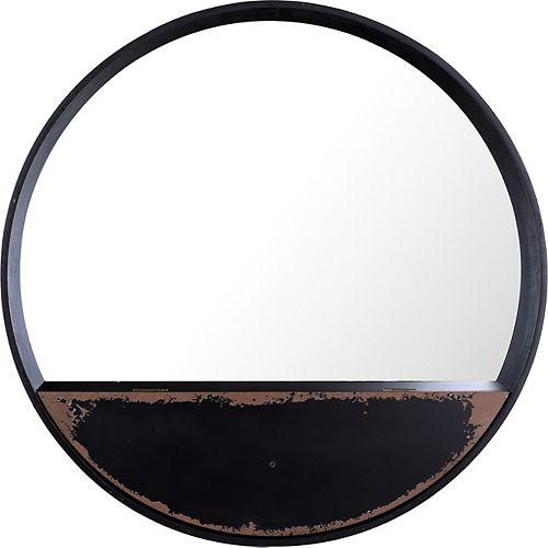 Round Metal III Wall Mirror Shelf
