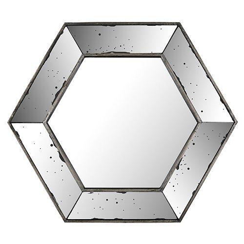 Art Maison Canada 20.47x17.72 miroir de l'hexagone, Mirrored frame, prêt à accrocher