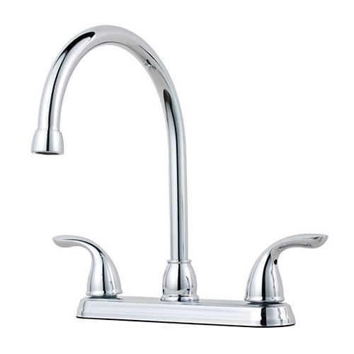 2 Handle High Arc Kitchen Faucet in Polished Chrome