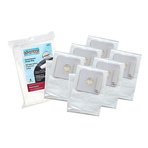 CB Performance Advantage Sac de rechange antiallergique compatible avec l'aspirateur central Kenmore 50601, ens. de 6