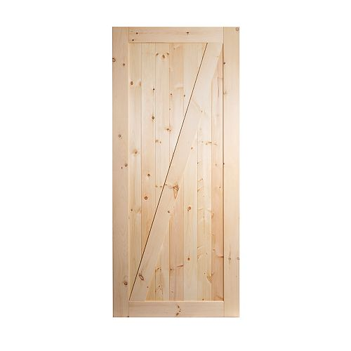 "Porte simple Z pin noueux 1-3/8'' x 36"" x 84''"