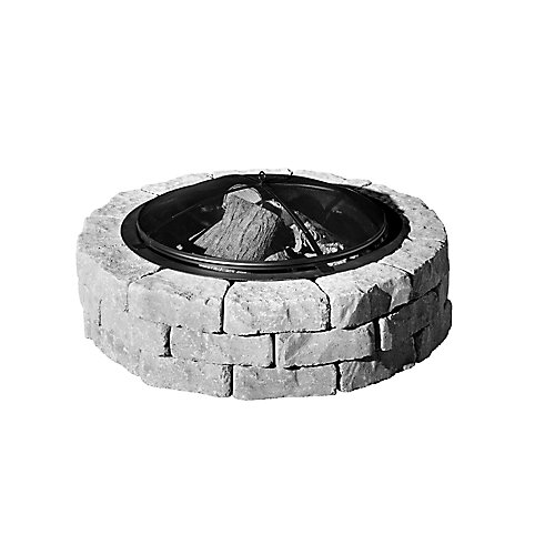 Beltis 43-inch Stone Block Firepit in Shadow with Screen