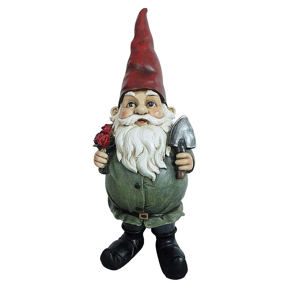 Angelo Décor 18-inch Comp-Cast Flower Gnome Statue