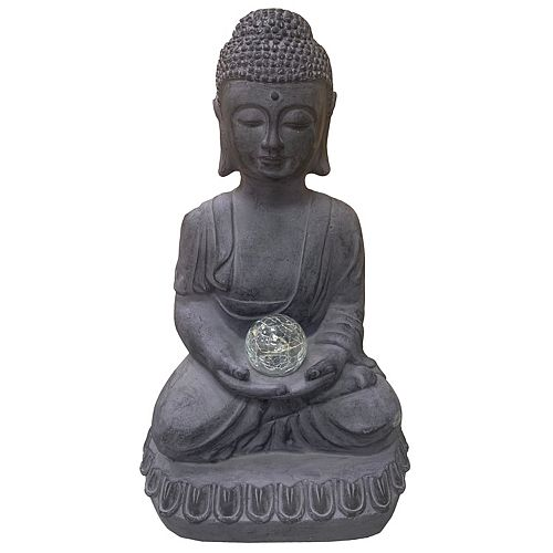 18.5-inch NuCrete Buddha with Candle Statue