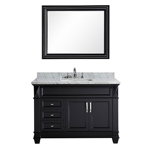 Hudson 48 inch Single Vanity in Espresso with Matching Mirror