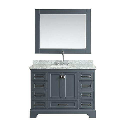 Design Element Omega 48 po Meuble-Lavabo en Gris avec Miroir