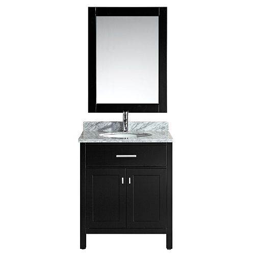London 30 inch Single Vanity in Espresso with Matching Mirror