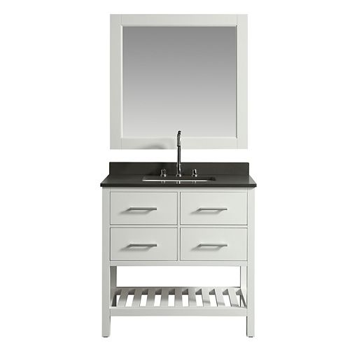 Design Element London Cambridge DEC077A-W-GT 36 inch Single Vanity in White with Matching Mirror
