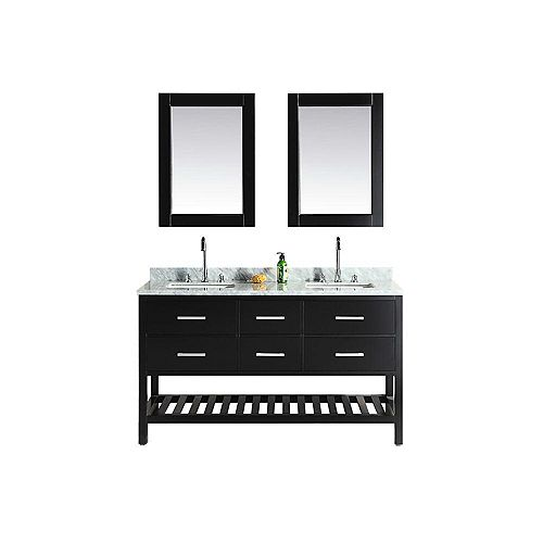 London Cambridge 61 inch Double Vanity in Espresso with Matching Mirror