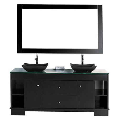 Oasis 60 inch Double Vanity in Espresso with Matching Mirror
