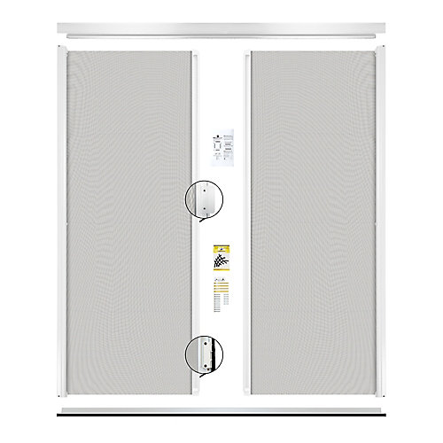 Retractable Screen Double entrance door white