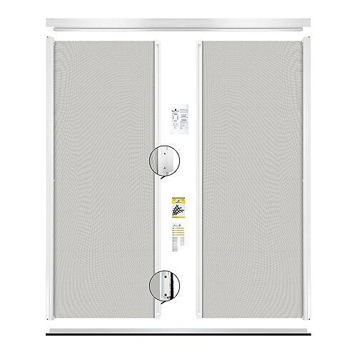 Retractable Screen Double entrance door white