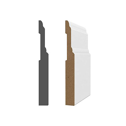 MDF white primed Baseboard 5/8 inch x 6 inch x 96 inch