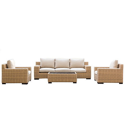 Cabana Tan 4-Piece Conversation Set with Beige Cushions