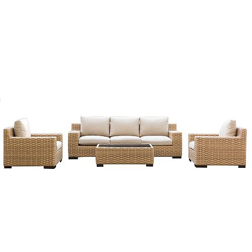 Cabana Tan 4-Piece Conversation Set with Beige Cushions