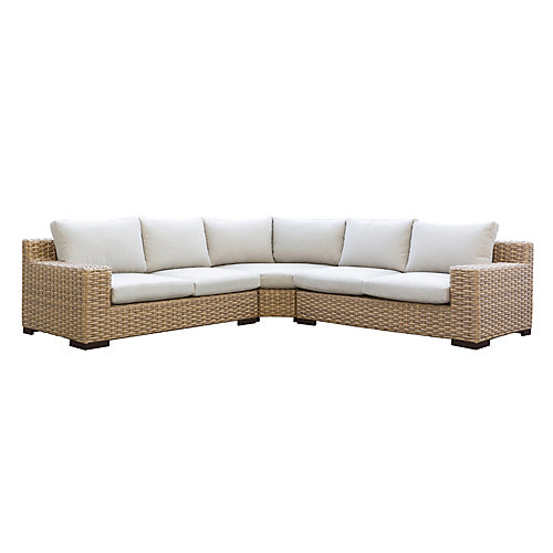 Cabana Tan 3-Piece Sectional with Beige Cushions