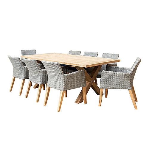Indo 9-Piece Rectangular Dining Set with Indigo Seat Pads