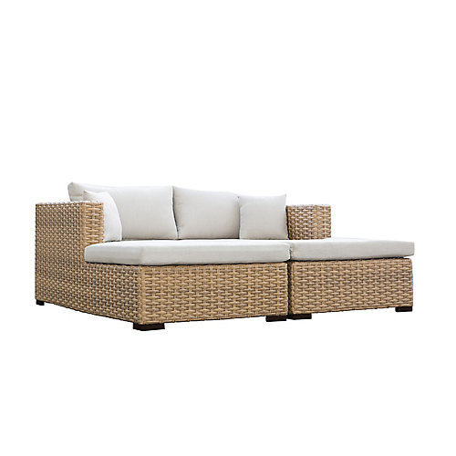 Cabana Tan Double Chaise Lounge Daybed, Beige Cushions