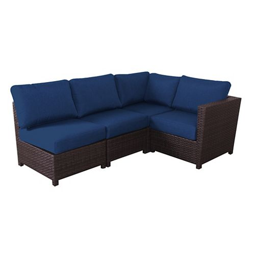Delaronde 4-Piece Wicker Patio Sectional in Dark Brown with Navy Cushions