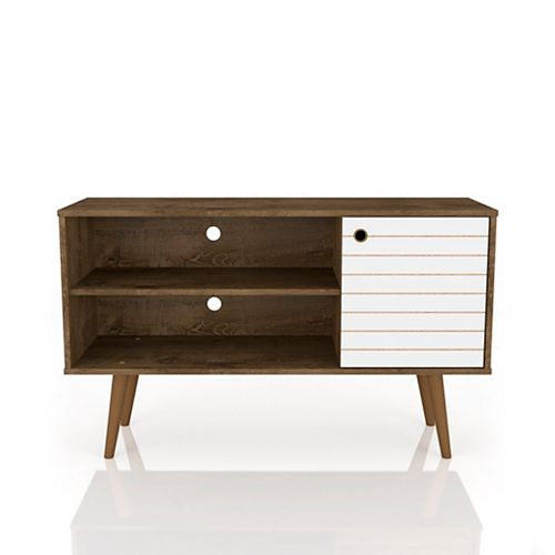 Liberty TV Stand 42.52 in Rustic Brown and White