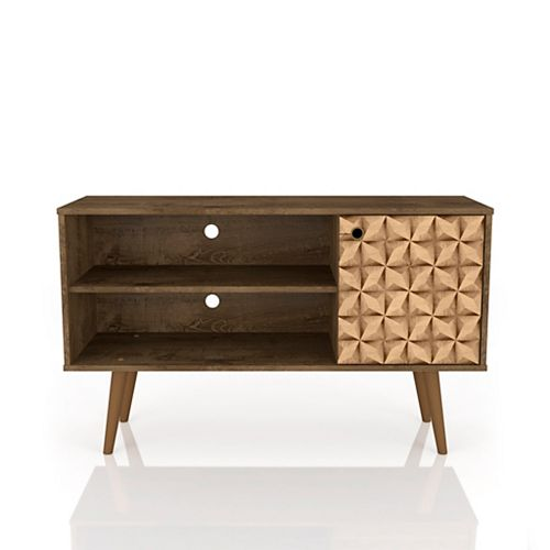 Liberty TV Stand 42.52 in Rustic Brown and 3D Brown Prints