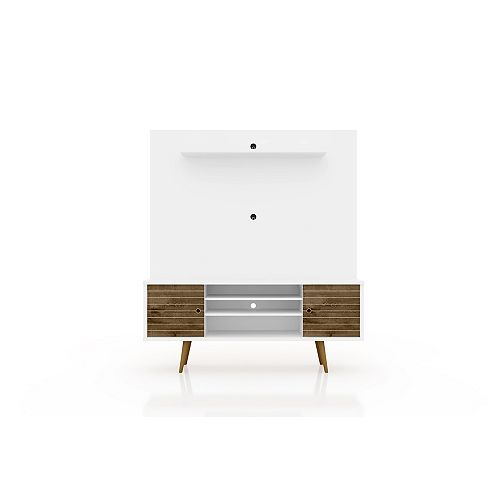Liberty Freestanding Entertainment Center 63 in White and Rustic Brown