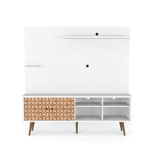 Liberty Freestanding Entertainment Center 70.87 in White and 3D Brown Prints