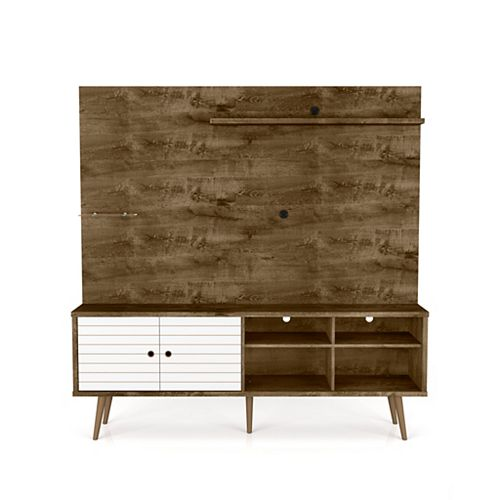 Liberty Freestanding Entertainment Center 70.87 in Rustic Brown and White