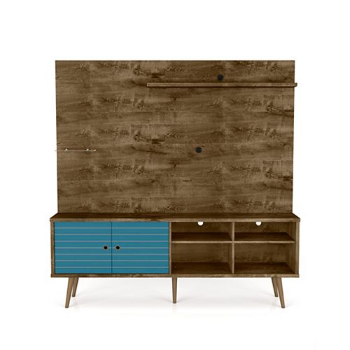 Liberty Freestanding Entertainment Center 70.87 in Rustic Brown and Aqua Blue