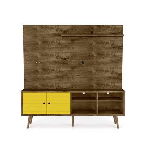 Liberty Freestanding Entertainment Center 70.87 in Rustic Brown and Yellow