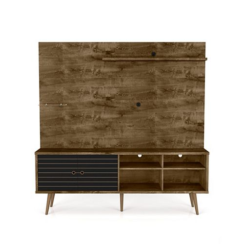 Liberty Freestanding Entertainment Center 70.87 in Rustic Brown and Matte Black
