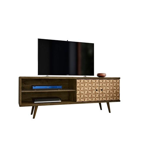 Liberty TV Stand 62.99 in Rustic Brown and 3D Brown Prints