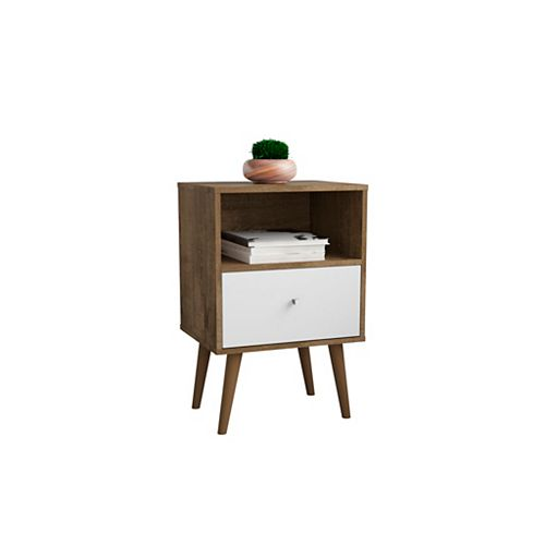 Liberty Nightstand 1.0 in Rustic Brown and White