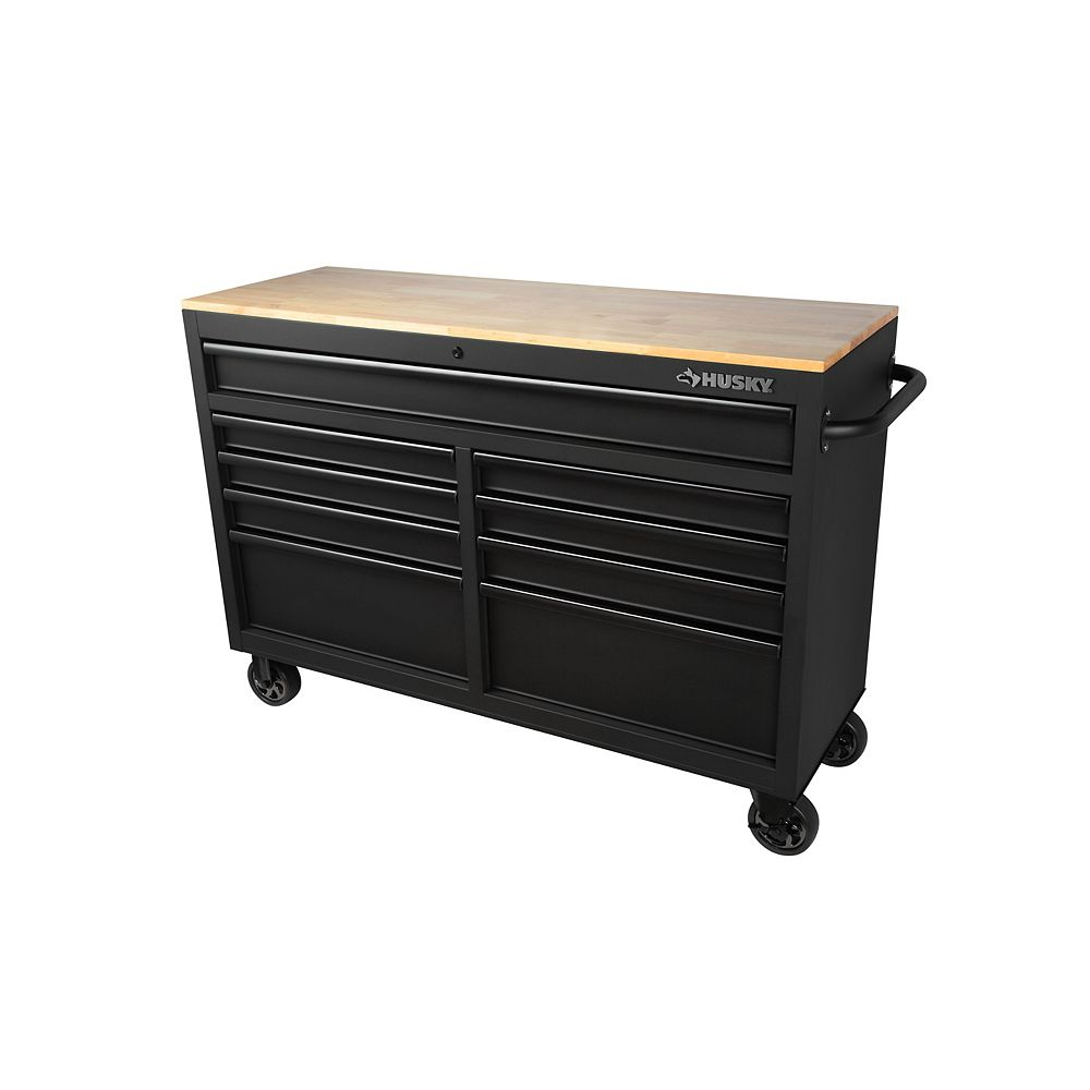 Husky 52-inch 9-Drawer Mobile Work Center in Textured Black H52MWC9BO