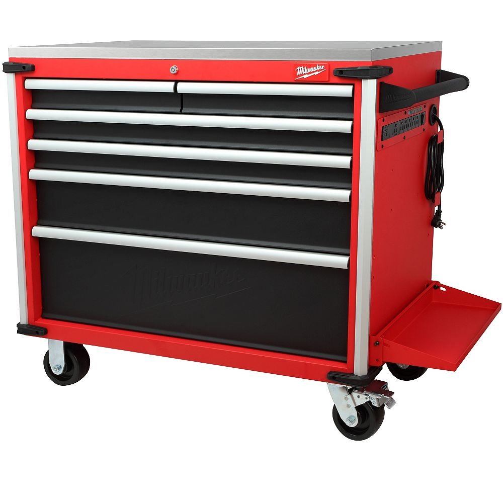 Milwaukee Tool 40-inch 6-Drawer Mobile Tool Storage Workbench with Stainless Steel Top in Red