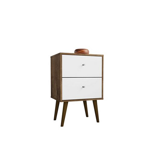 Manhattan Comfort Liberty Nightstand 2.0 in Rustic Brown and White