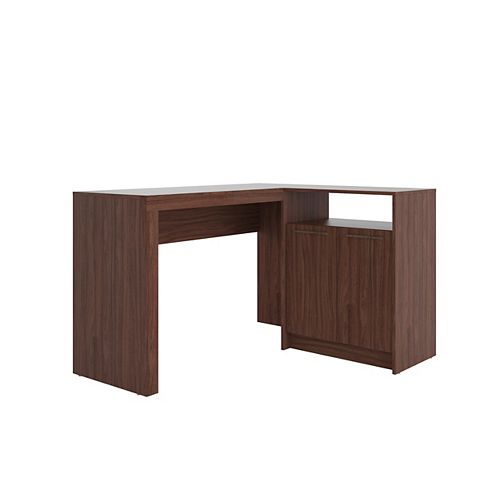 Kalmar L-Shaped Office Desk in Dark Brown