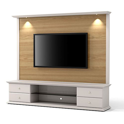 "Carder 85.43"" TV Stand and Panel in Nature Wood and Off White"