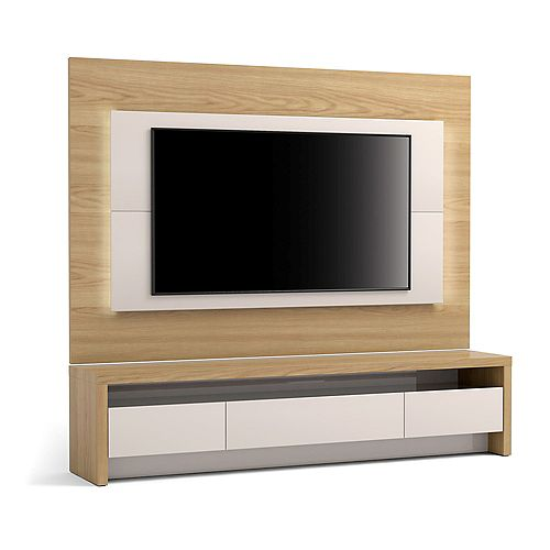 """Sylvan 70.86"""" TV Stand and Panel in Nature Wood and Off White"""