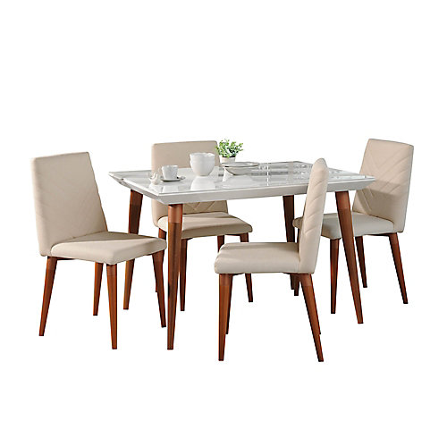 """Utopia 47.24"""""""" 5-Piece Dining Set in White Gloss and Beige"""