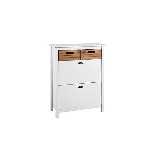 Irving Shoe Rack Closet in White and Natural Wood