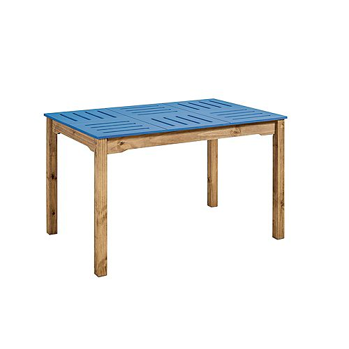 """Stillwell 47.25"""" Rectangular Table in Blue and Natural Wood"""