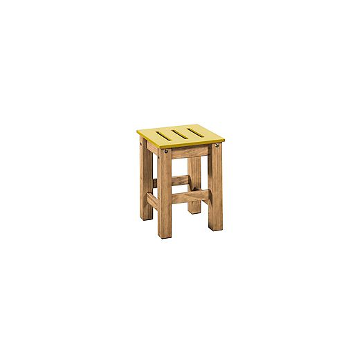"Stillwell 17.7"""" Barstool in Yellow and Natural Wood (Set of 2)"