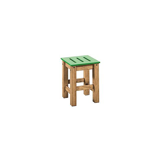 "Stillwell 17.7"""" Barstool in Green and Natural Wood (Set of 2)"