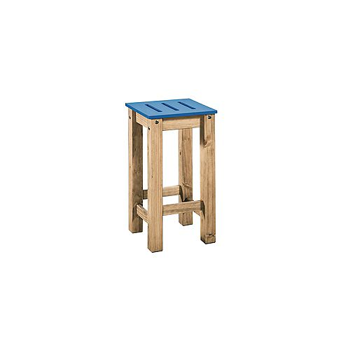 """Stillwell 24.8"""""""" Tall Barstool in Blue and Natural Wood (Set of 2)"""