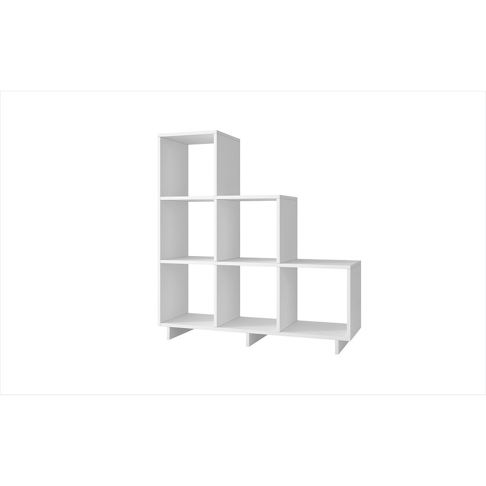 Accentuations by Manhattan Comfort Cascavel Stair Cubbies with  6 shelves in White